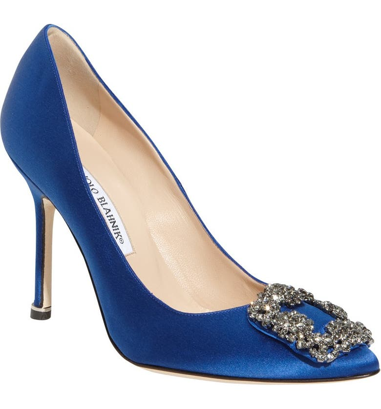 MANOLO BLAHNIK 'Hangisi' Jewel Pump, Main, color, BLUE SATIN