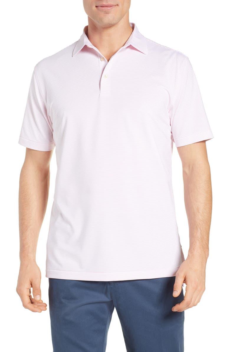 PETER MILLAR Halford Stripe Stretch Jersey Polo, Main, color, WHITE/LANAI