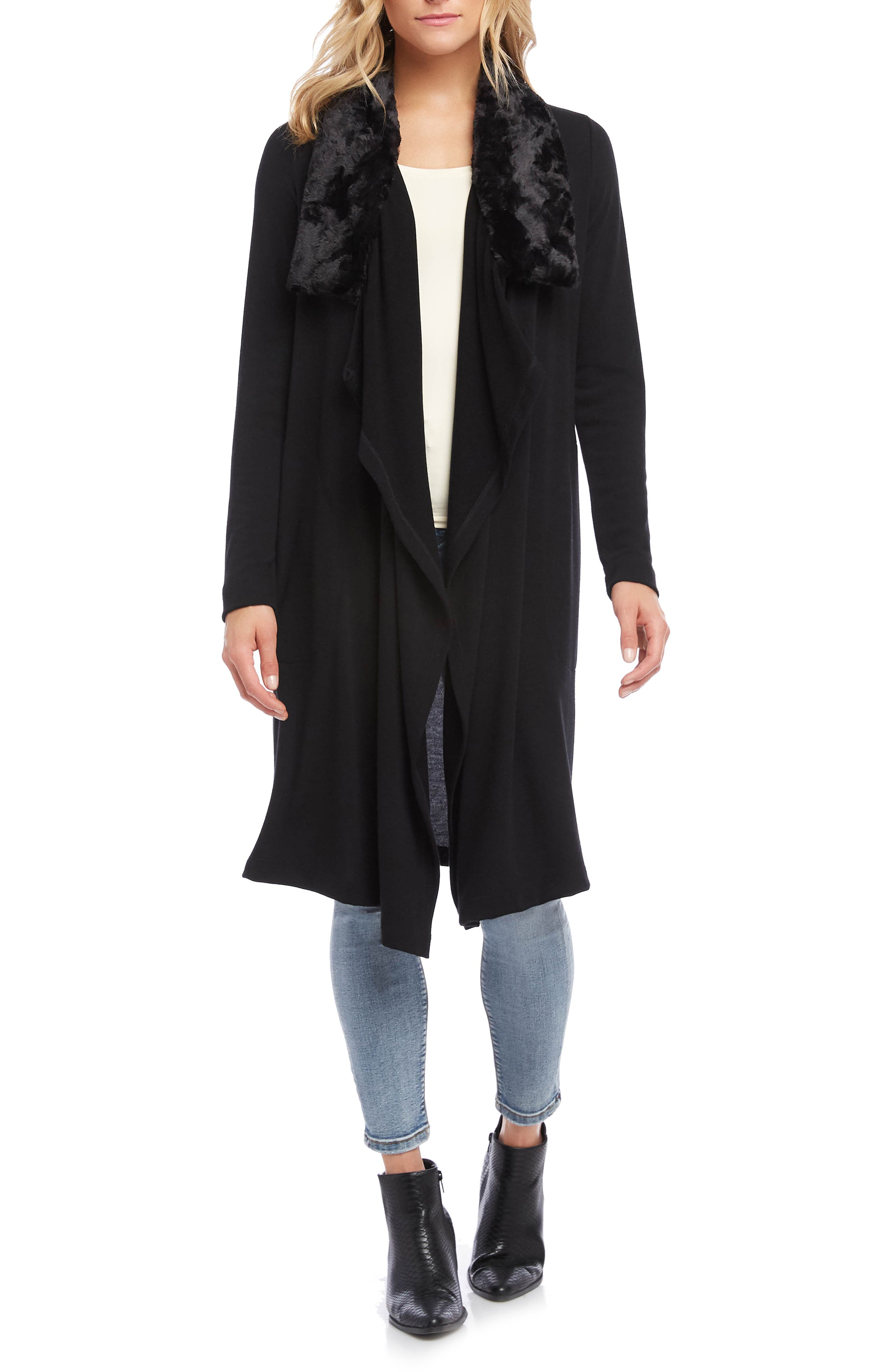 Vintage Coats & Jackets | Retro Coats and Jackets Womens Karen Kane Duster Cardigan With Faux Fur Collar $77.40 AT vintagedancer.com