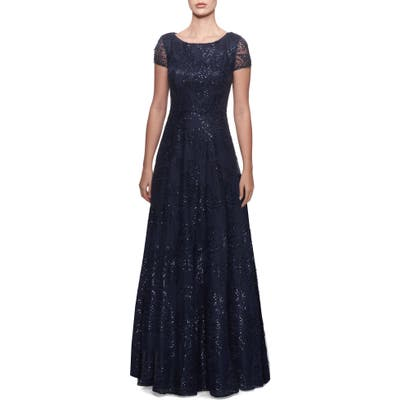 La Femme Sequin Floral Embroidered Gown, Blue