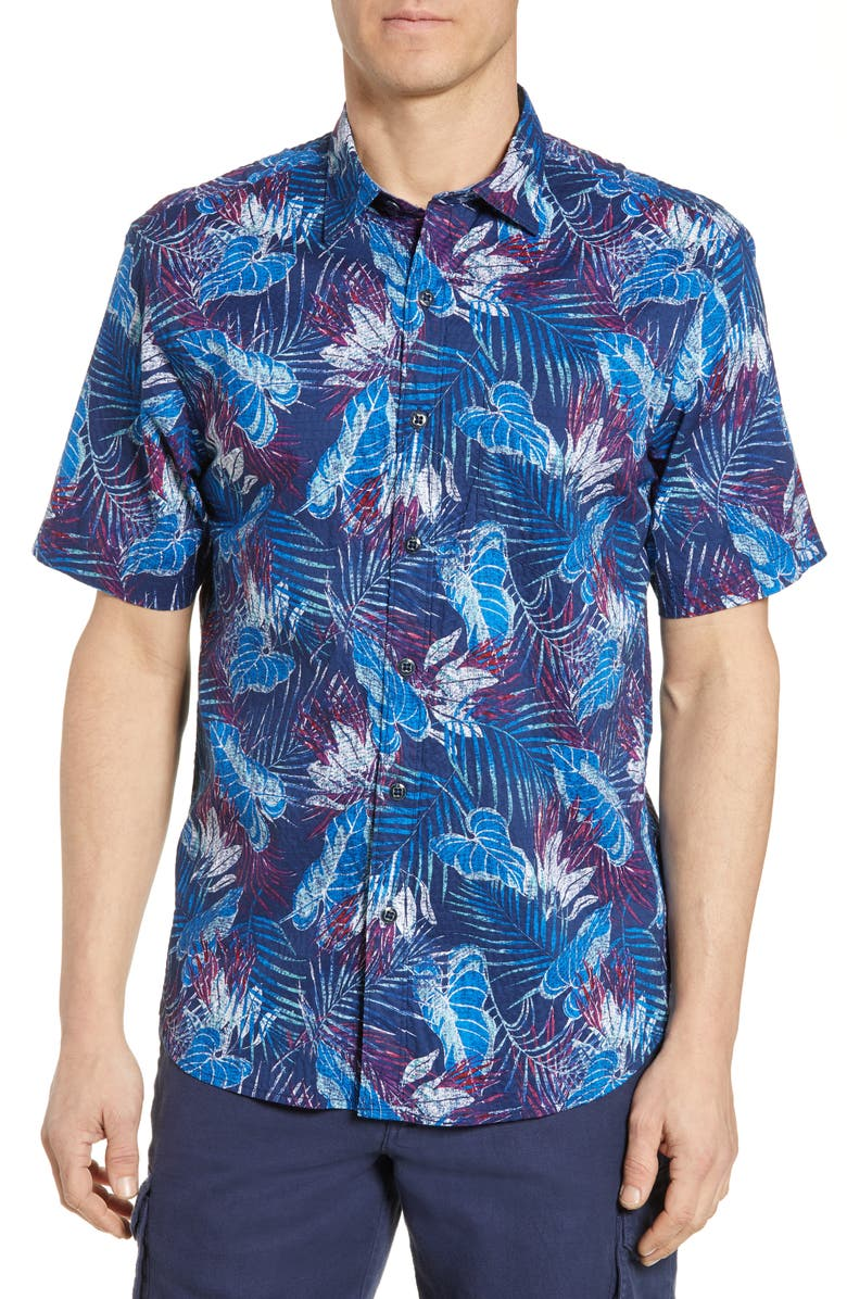 TOMMY BAHAMA Pavia Palms Classic Fit Short Sleeve Button-Up Shirt, Main, color, KINGDOM BLUE