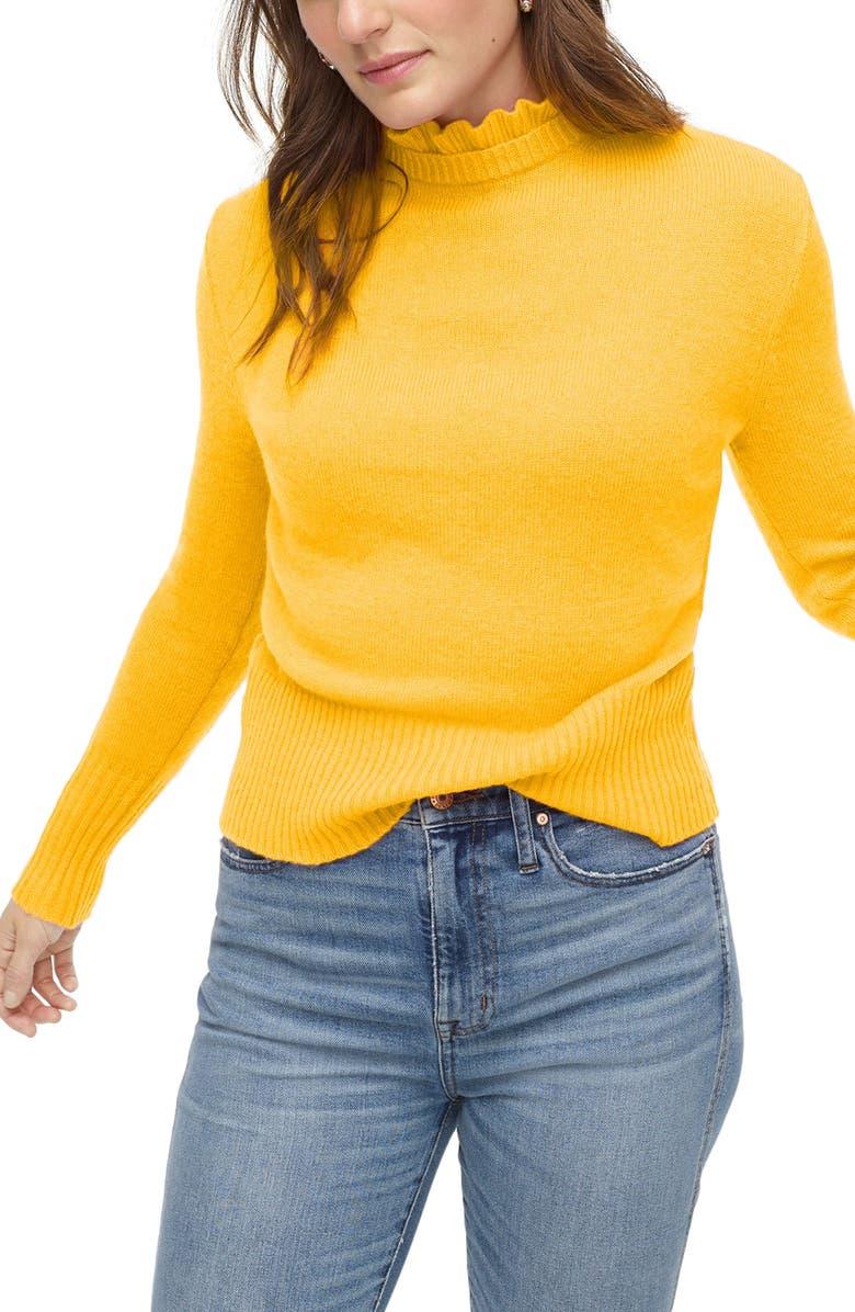 J.CREW Ruffle Neck Sweater, Main, color, NAPLES YELLOW