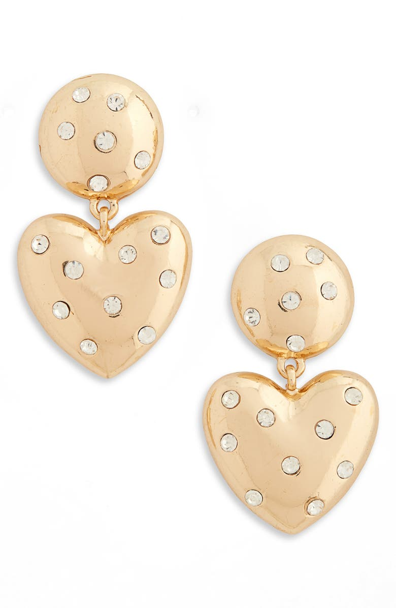 BP. Stone & Heart Drop Earrings, Main, color, CLEAR- GOLD