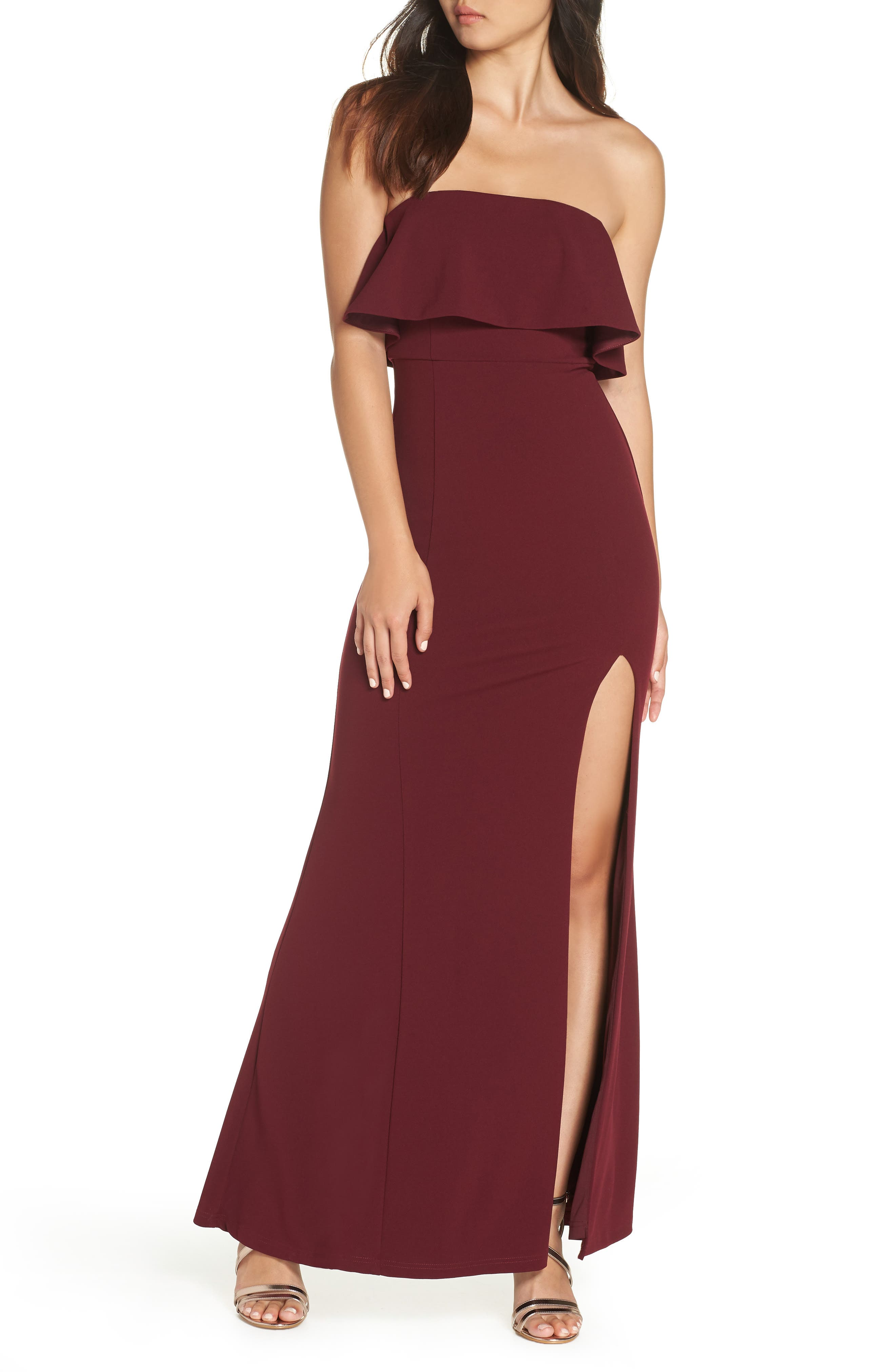 Lulus Off The Shoulder Maxi Gown, Red
