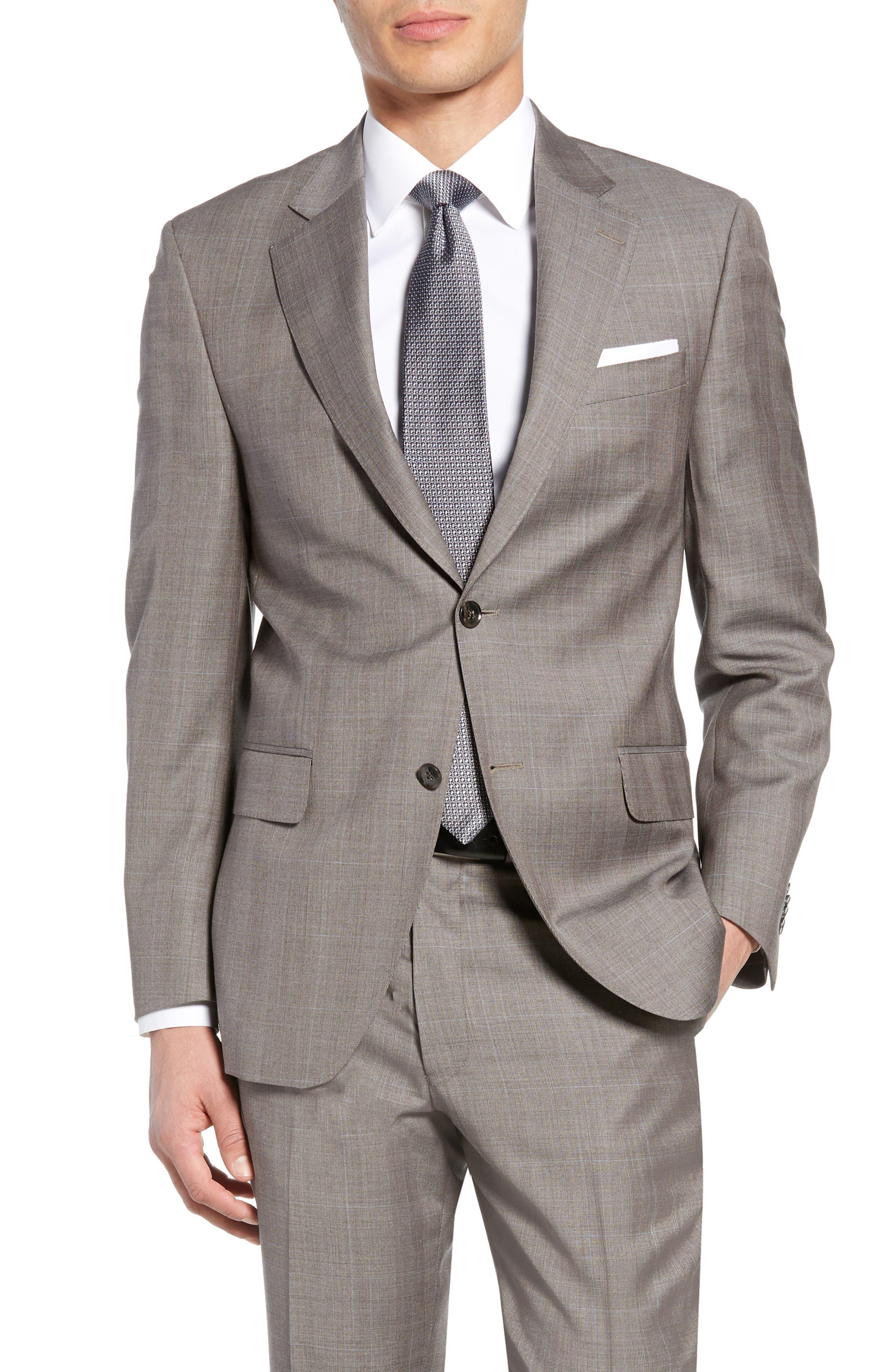 ,                             Flynn Classic Fit Windowpane Wool Suit,                             Alternate thumbnail 5, color,                             TAN