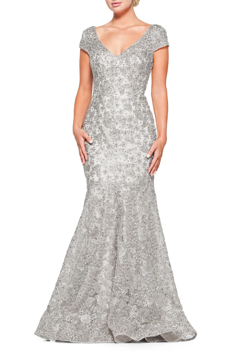 MARSONI Metallic Lace Trumpet Gown, Main, color, SILVER
