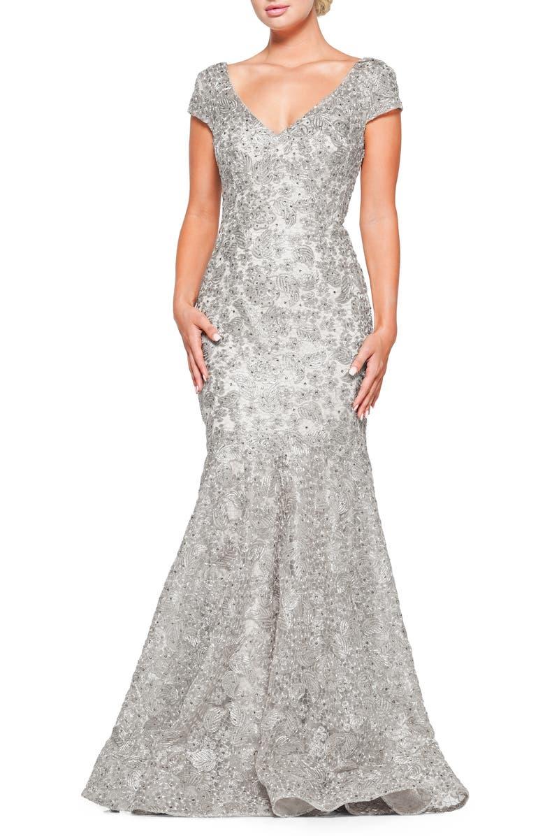 MARSONI Metallic Lace Trumpet Gown, Main, color, 045
