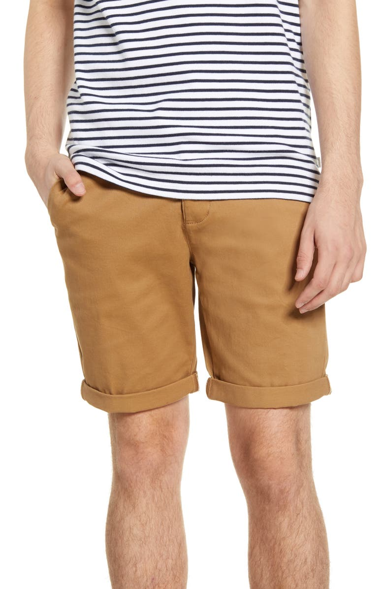 TOPMAN Stretch Skinny Chino Shorts, Main, color, BROWN