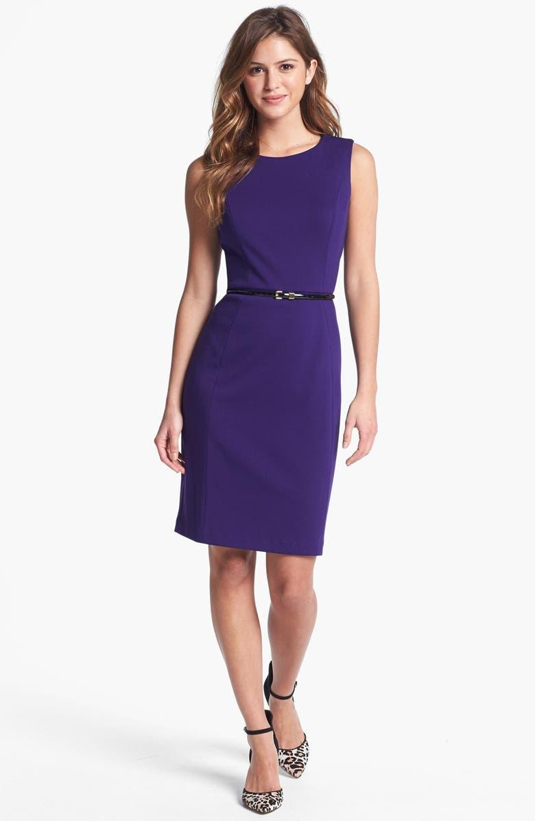 CALVIN KLEIN Belted Ponte Sheath Dress, Main, color, 500