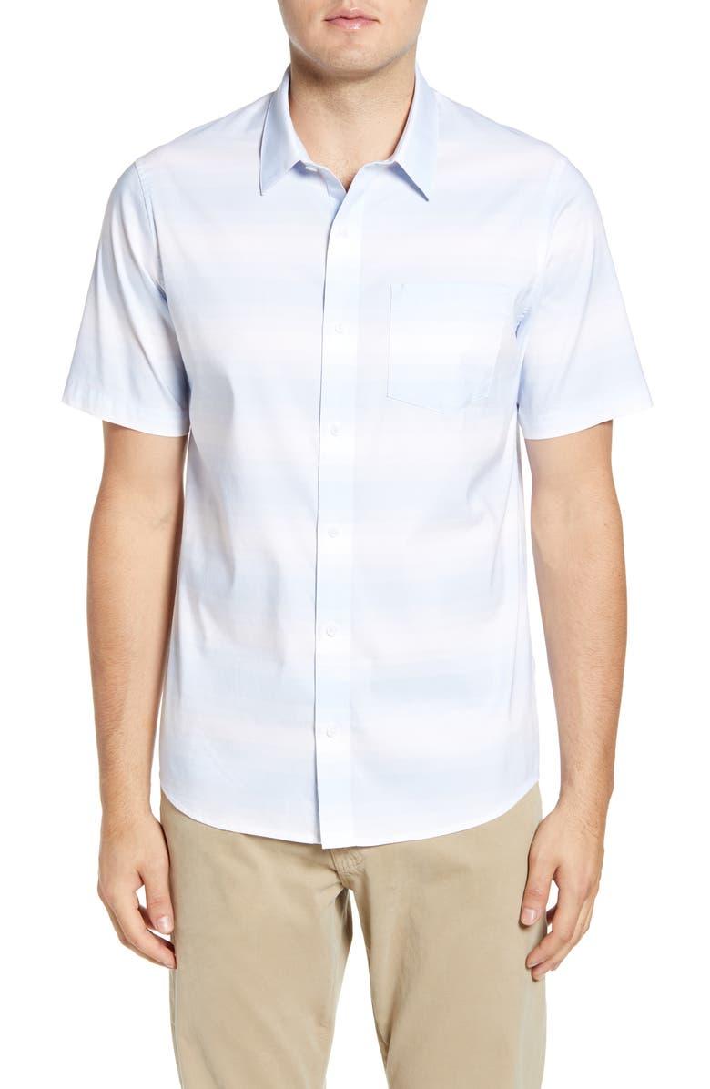 TRAVISMATHEW Another Thing Trim Fit Stripe Short Sleeve Button-Up Sport Shirt, Main, color, KENTUCKY WHITE/ BLUE
