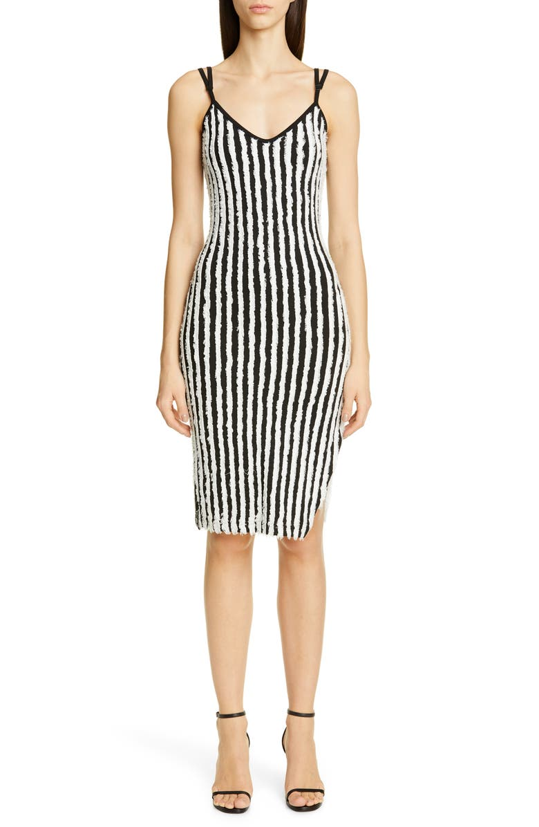 Y/PROJECT Paisley Fray Stripe Body-Con Dress, Main, color, 001