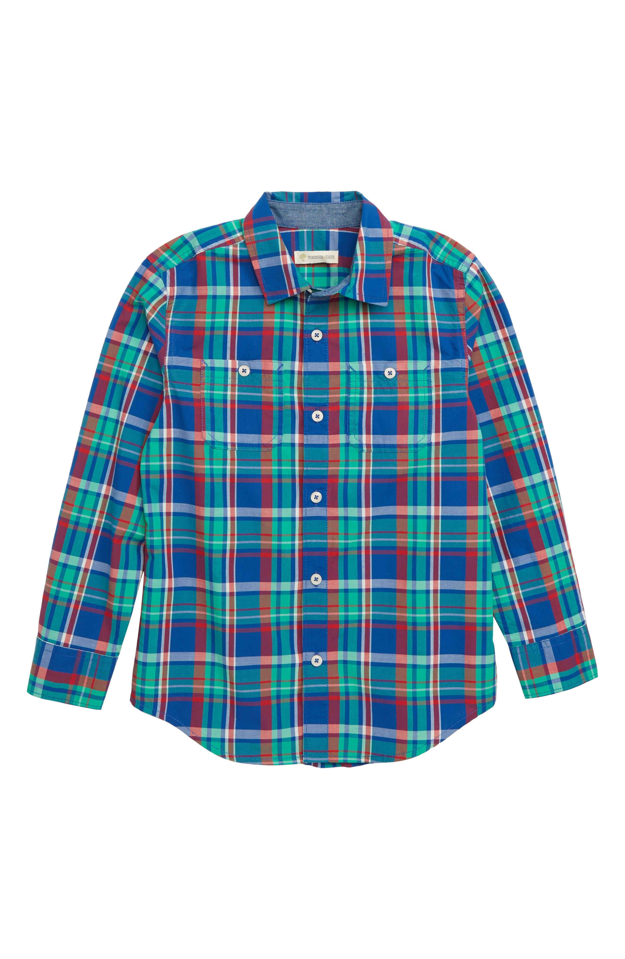 ,                             'Photo' Buffalo Plaid Woven Shirt,                             Main thumbnail 1, color,                             401