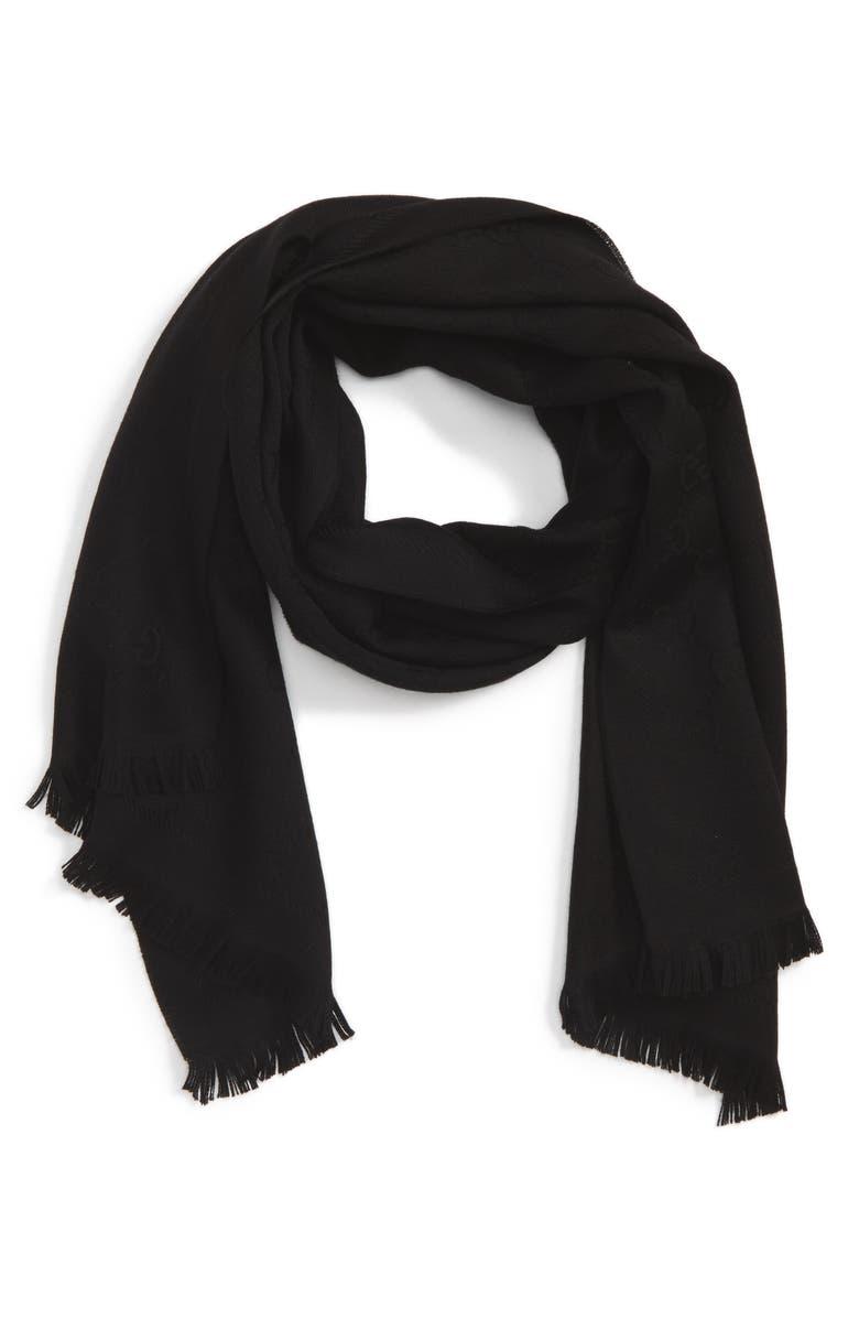 GUCCI GG Jacquard Wool Scarf, Main, color, BLACK