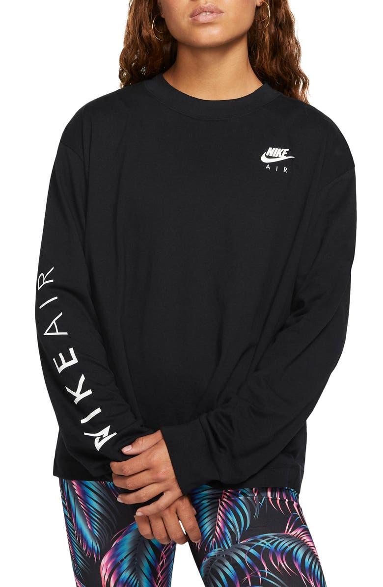 NIKE Sportswear Air Long Sleeve Tee, Main, color, BLACK