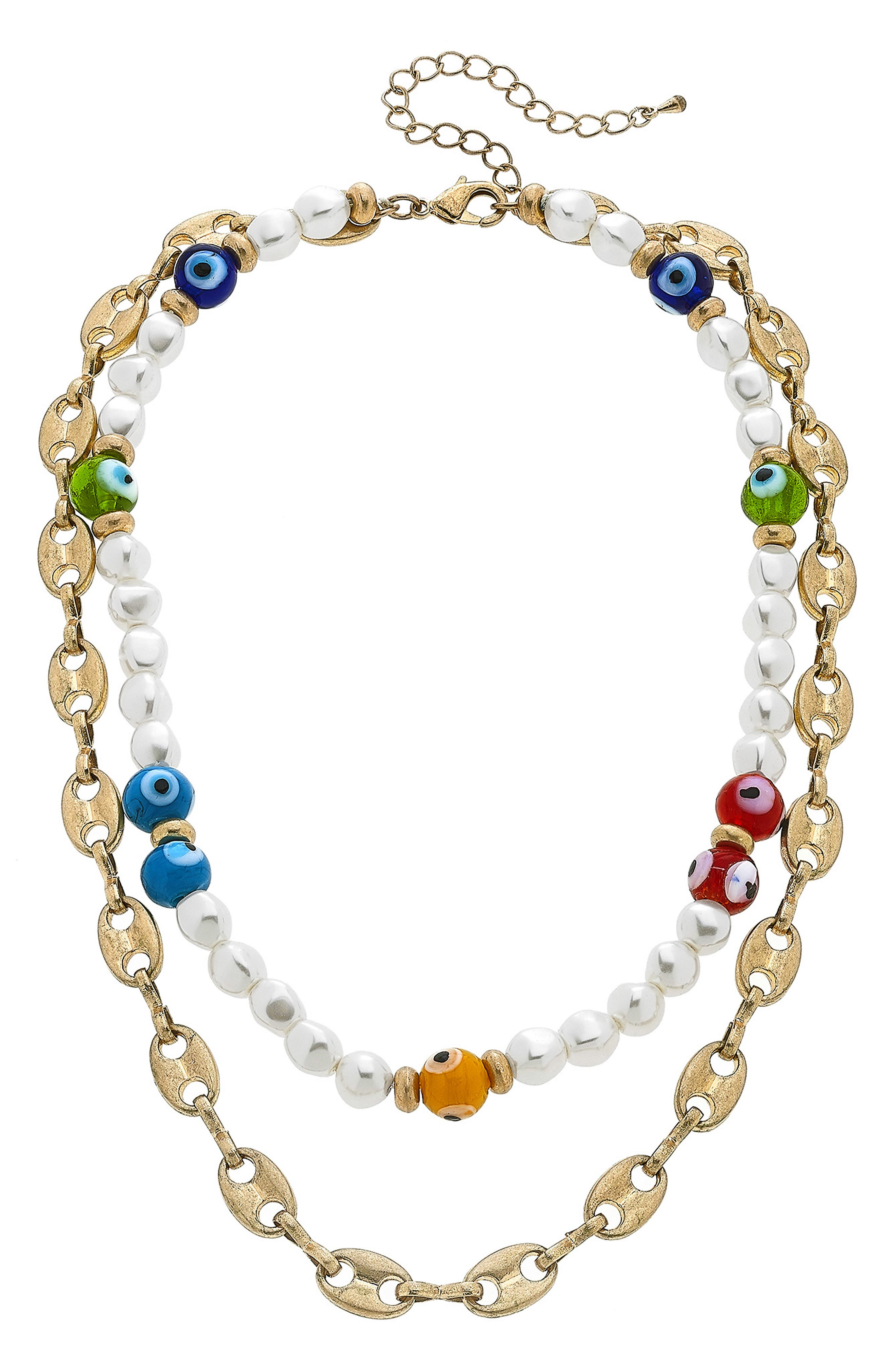 Murano Glass Evil Eye Glass Bead & Chain Layered Necklace
