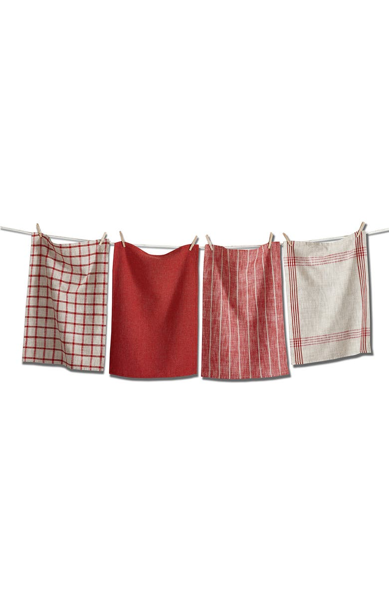 TAG Canyon Set of 4 Cotton Dishtowels, Main, color, RED MULTI