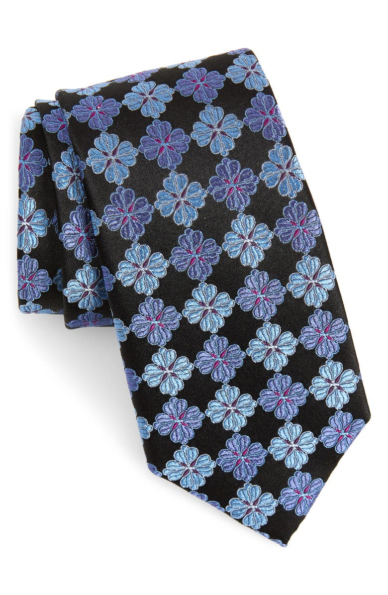 NORDSTROM MEN'S SHOP Cole Floral Silk Tie, Main, color, ONYX