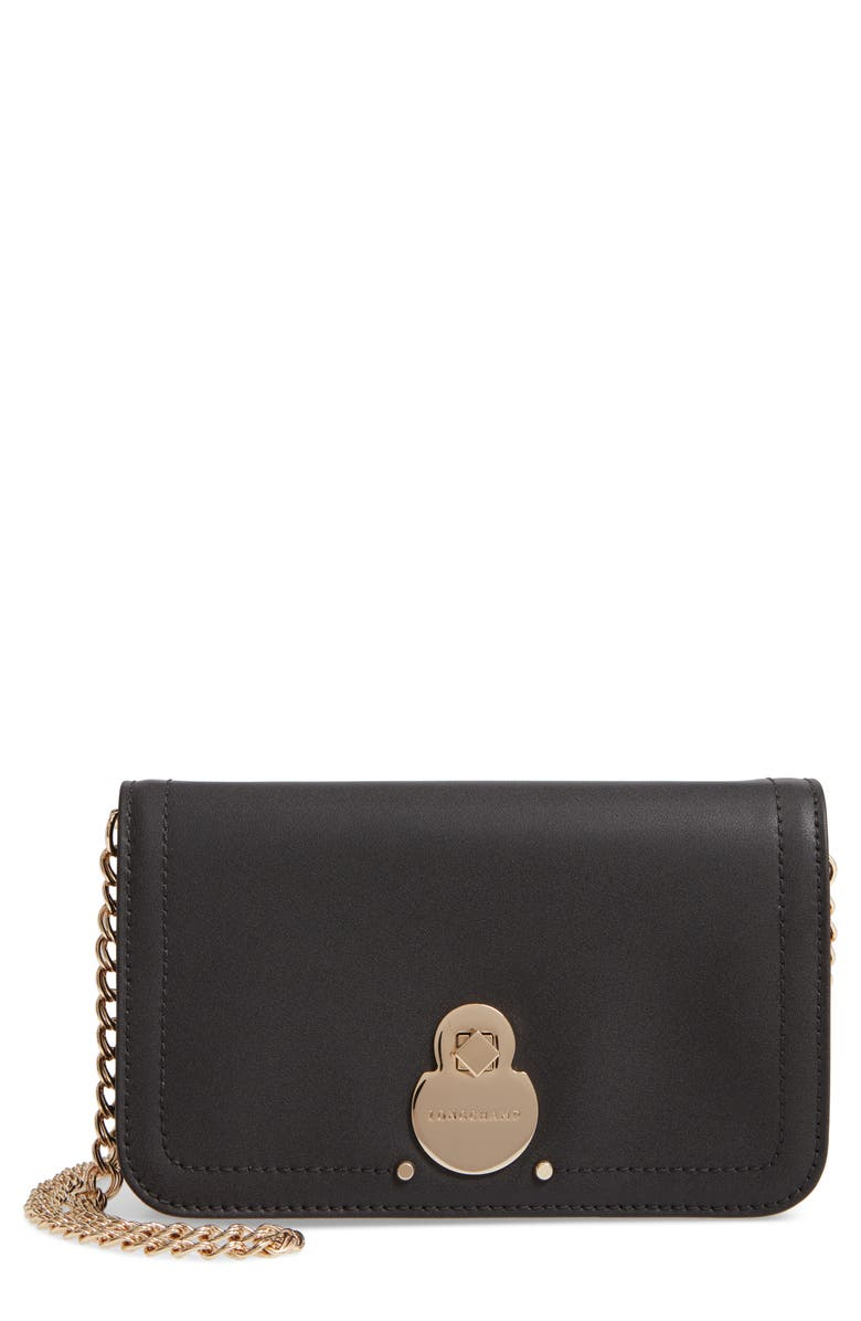 LONGCHAMP Cavalcade Leather Wallet on a Chain, Main, color, BLACK
