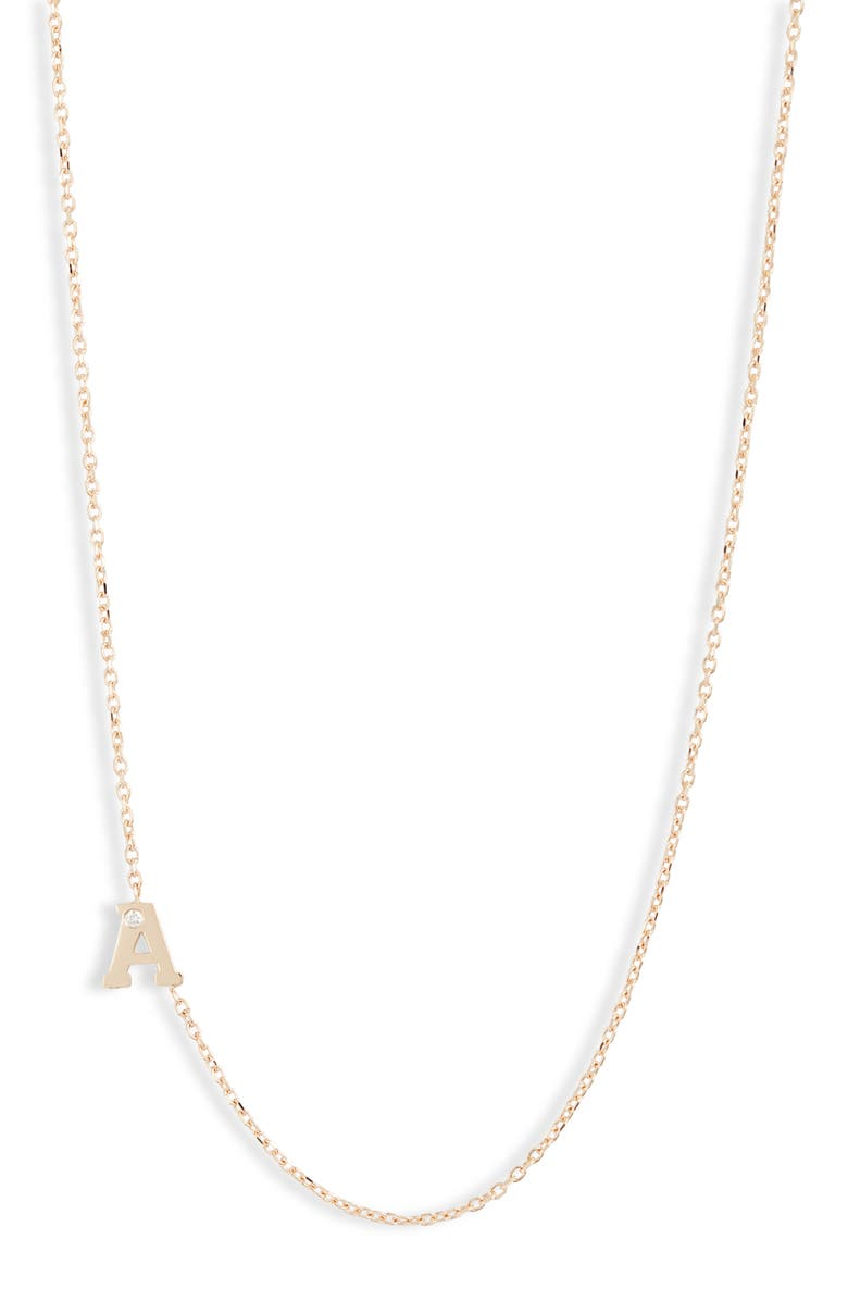 ANZIE Diamond Initial Necklace, Main, color, A