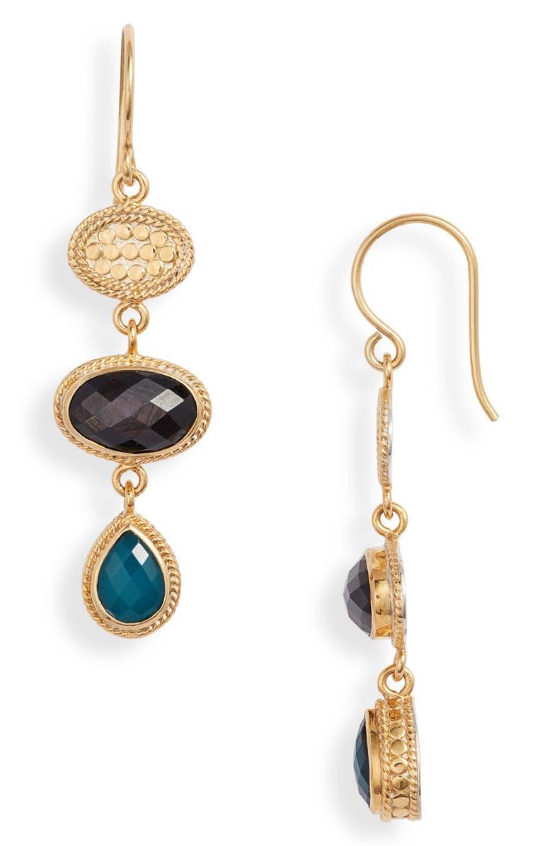 ANNA BECK Triple Drop Stone Earrings, Main, color, GOLD/ BLUE/ BLACK