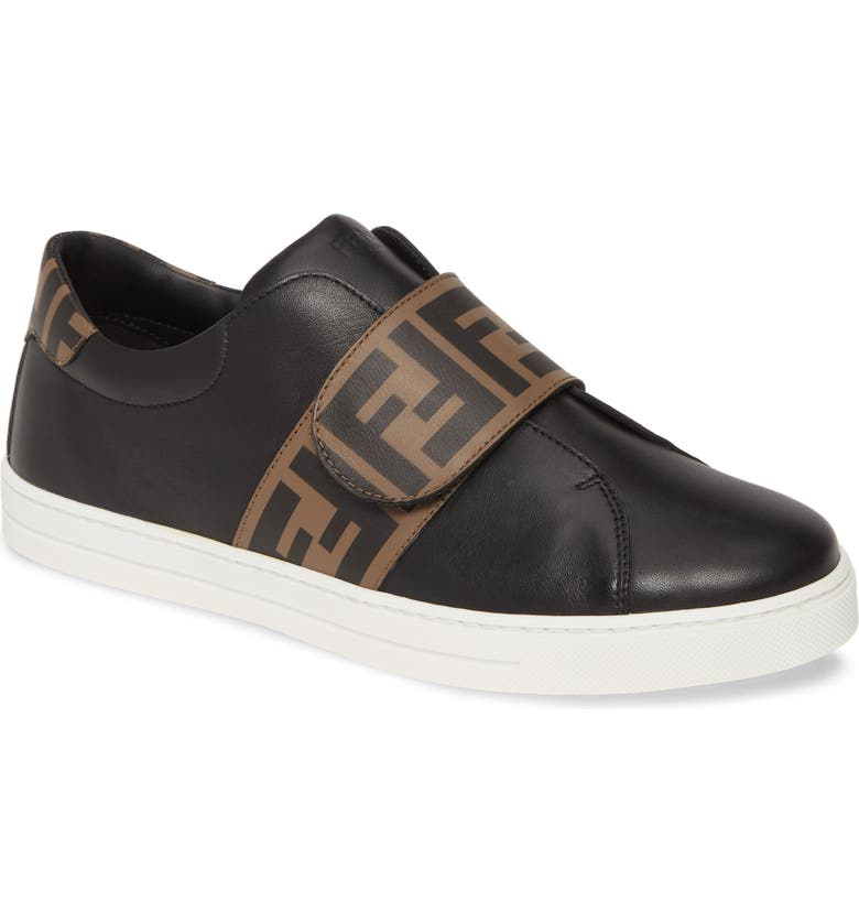 FENDI Double-F Logo Low Top Sneaker, Main, color, BLACK