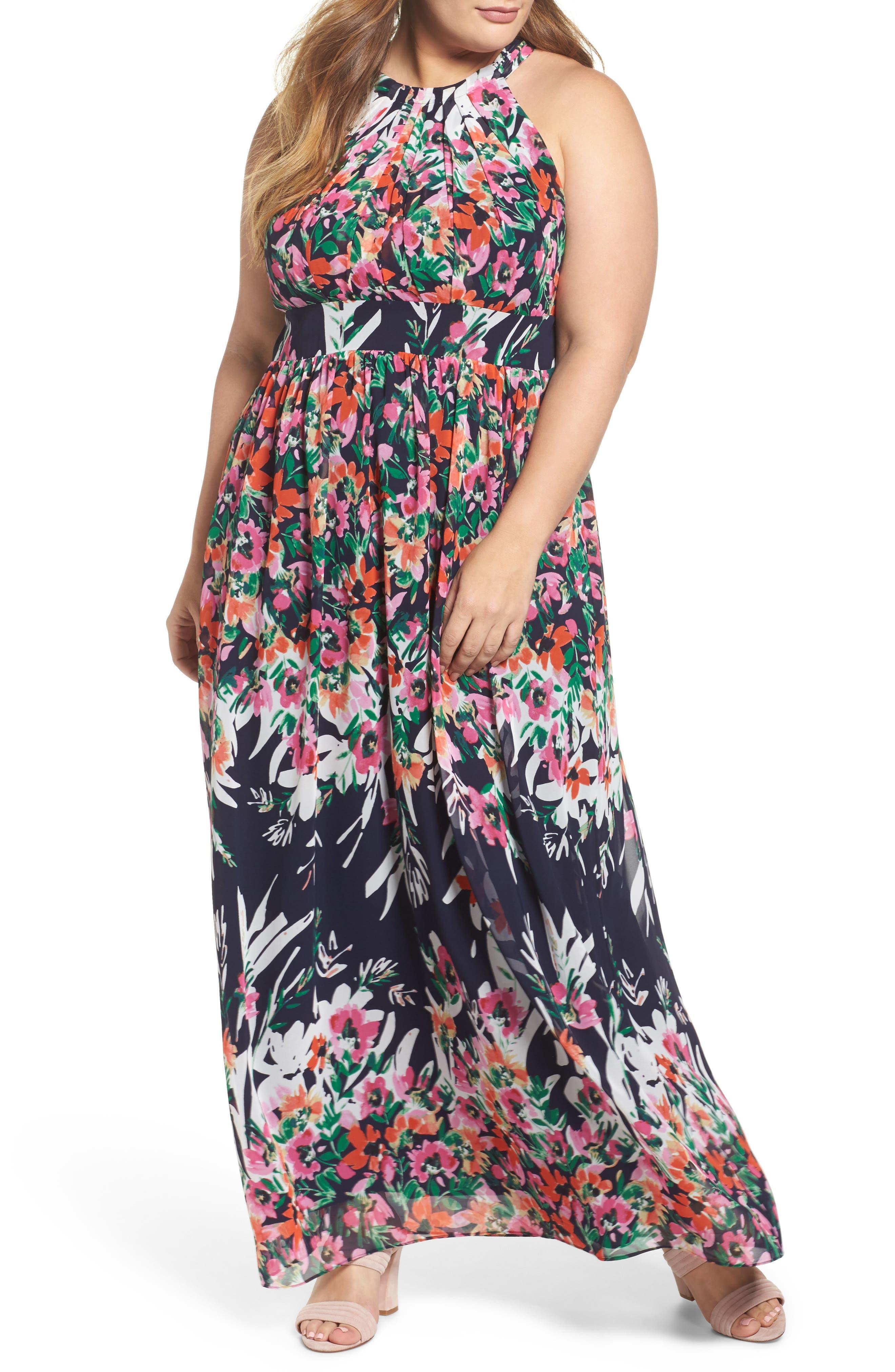Plus Size Eliza J Floral Halter Chiffon Maxi Dress, Blue