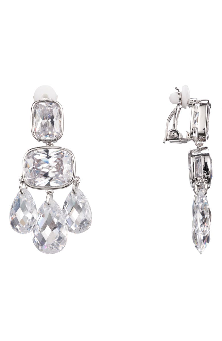 NINA Briolette Chandelier Earrings, Main, color, RHODIUM/ WHITE