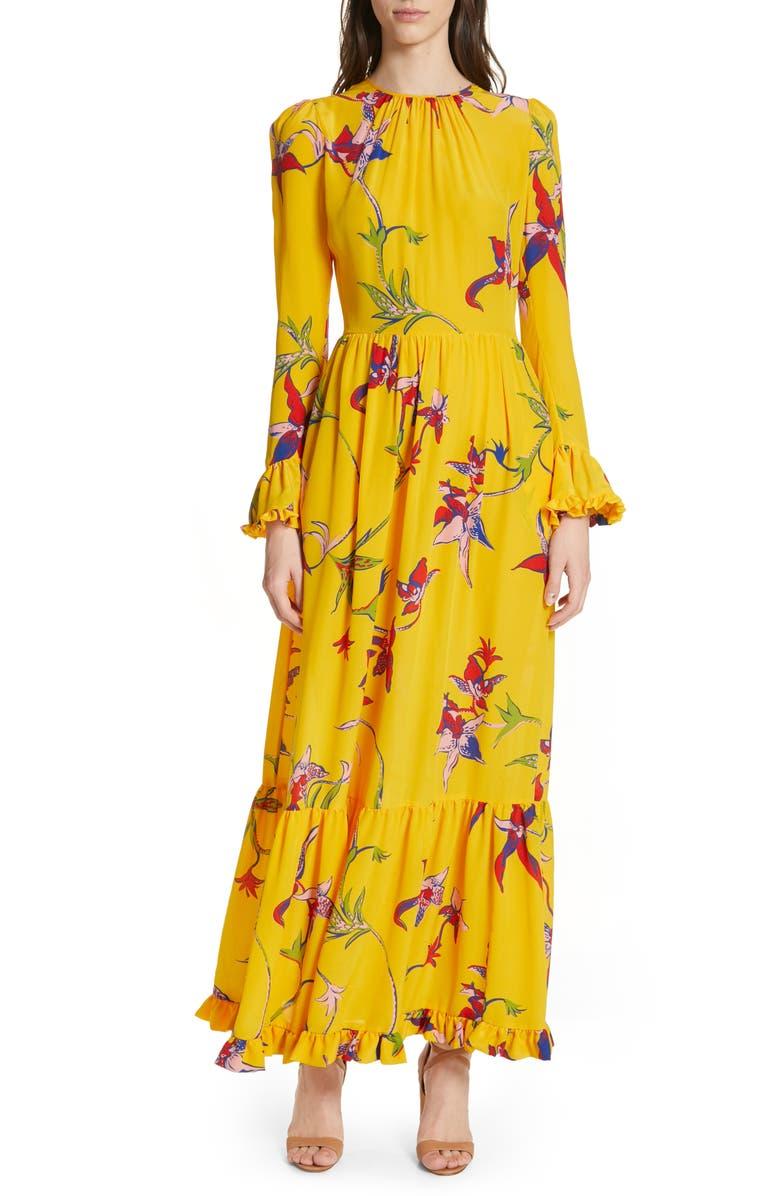 LA DOUBLEJ Summer Visconti Print Maxi Dress, Main, color, ORCHIDEE GIALLO