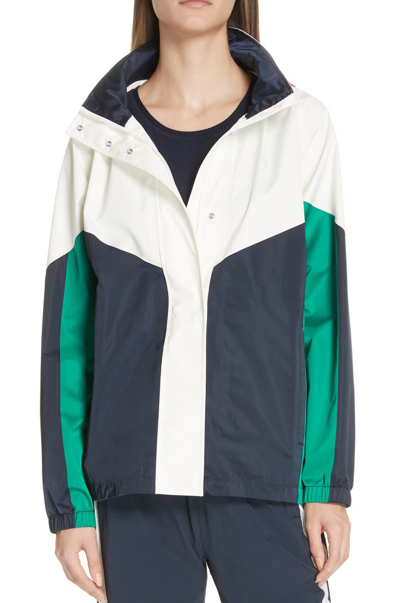 TORY SPORT Waterproof Colorblock Performance Satin Jacket, Main, color, SNOW WHITE/ TORY NAVY