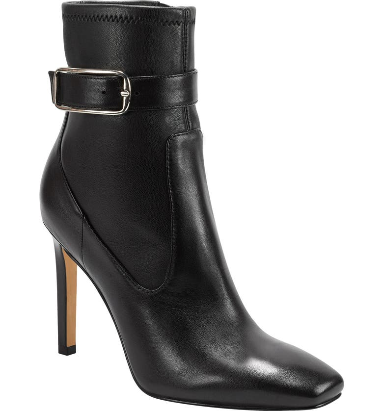 MARC FISHER LTD Cyndi Buckle Square Toe Bootie, Main, color, BLACK/ BLACK LEATHER