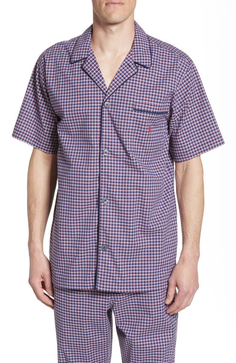 POLO RALPH LAUREN Classic Stretch Pajama Shirt, Main, color, ALLEN PLAID