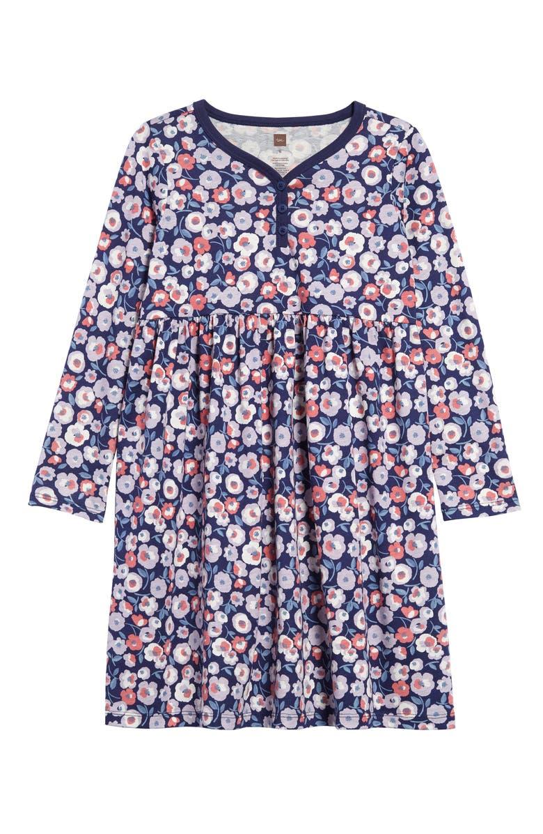 TEA COLLECTION Flower Print Henley Dress, Main, color, 403