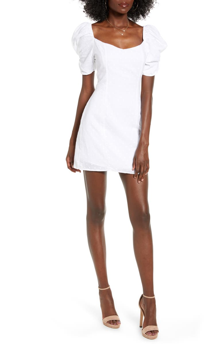 4SI3NNA Heidi Puff Shoulder Cotton Minidress, Main, color, 100