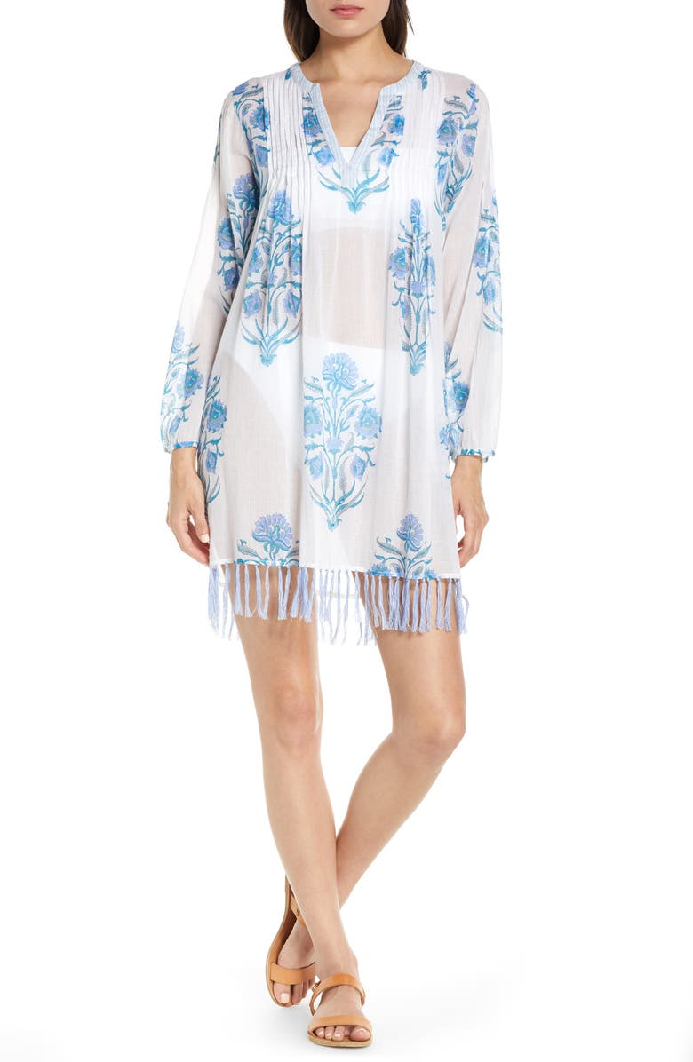 ROLLER RABBIT Mason Ziva Long Sleeve Cover-Up Tunic, Main, color, BLUE