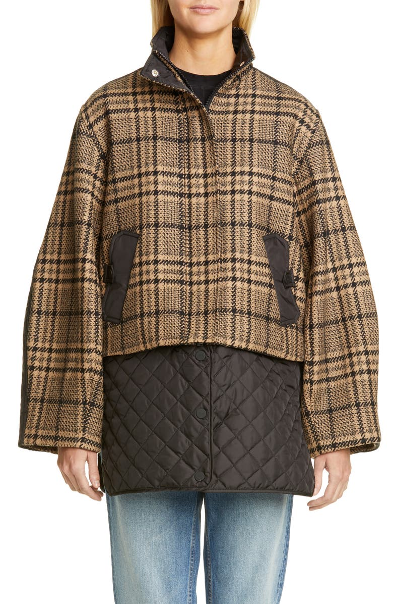 GANNI Plaid Tech Wool Blend Coat with Removable Insulated Hem, Main, color, BLACK