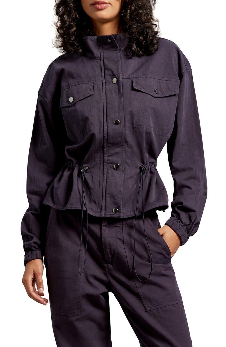 MICHAEL STARS Ingrid Salton Twill Windbreaker, Main, color, ADMIRAL