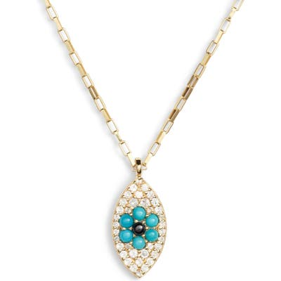 Ela Rae Vertical Evil Eye Pendant Necklace