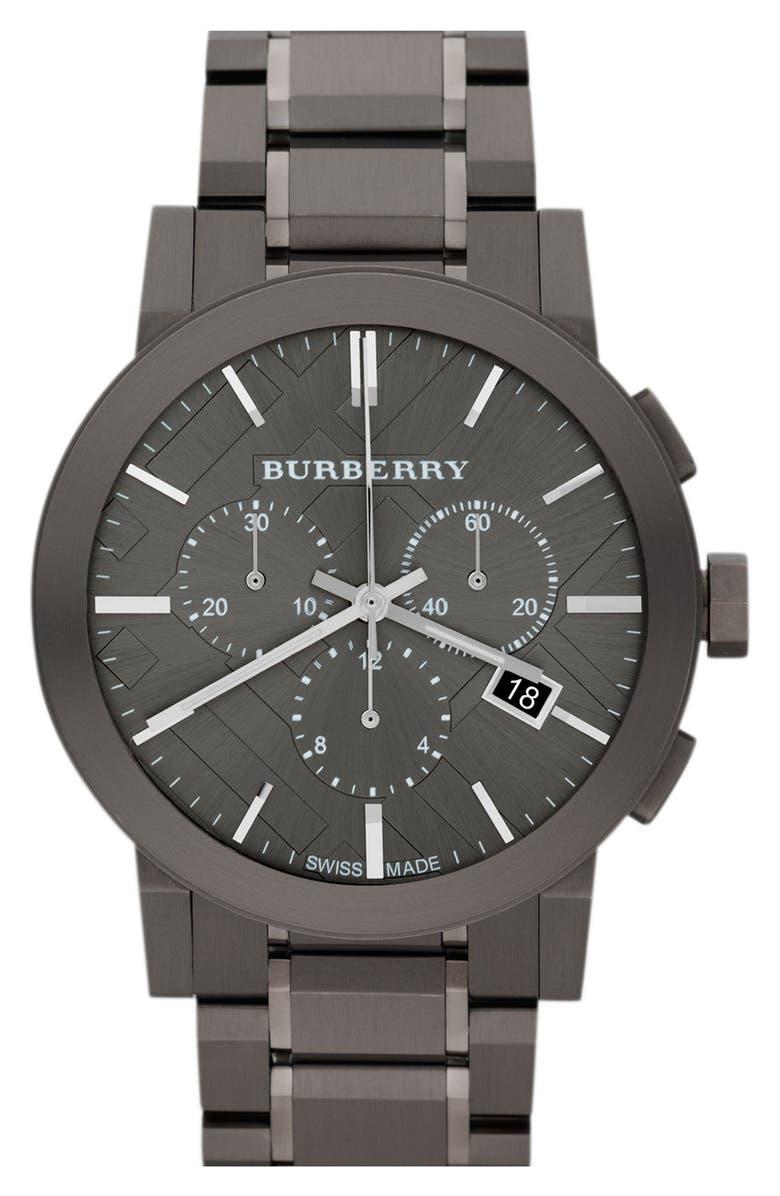 BURBERRY Large Chronograph Bracelet Watch, 42mm, Main, color, 020