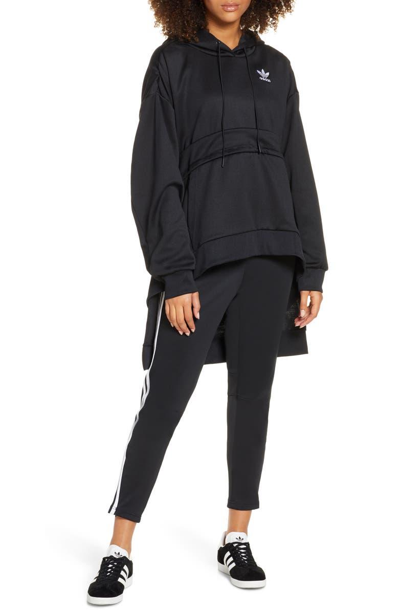 ADIDAS ORIGINALS Hooded High/Low Parka, Main, color, BLACK