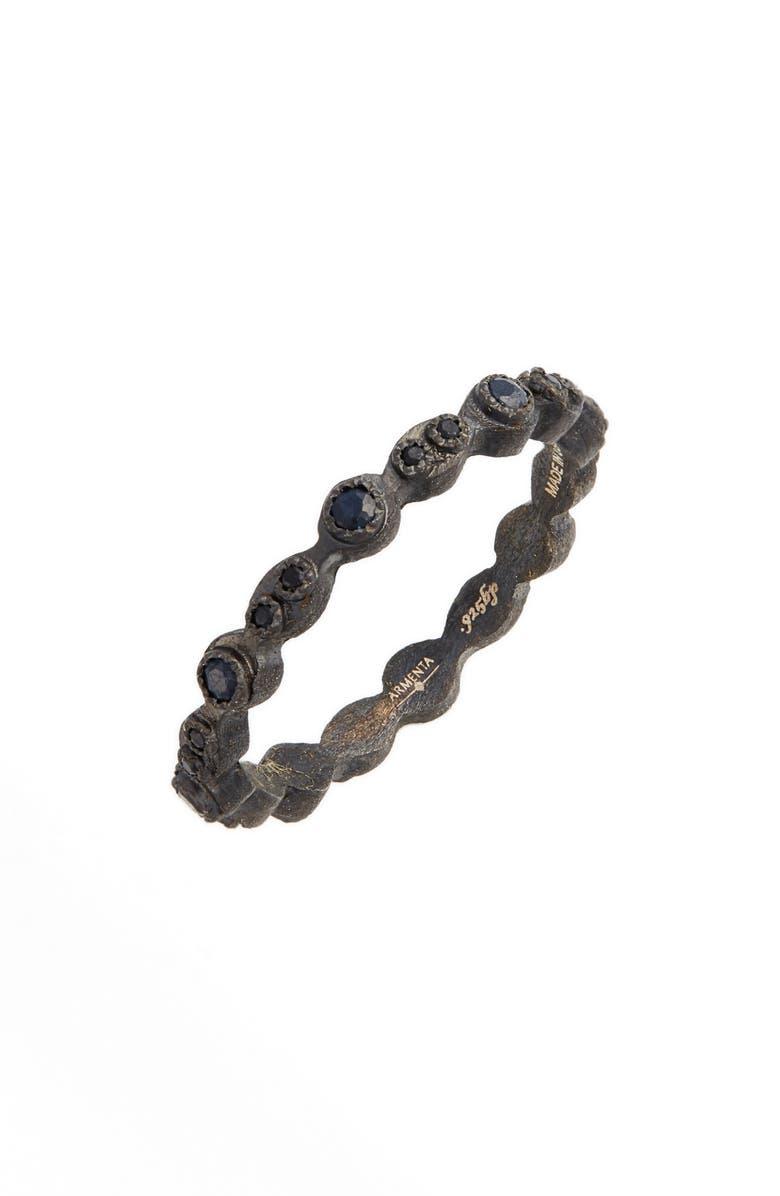 ARMENTA Old World Black Stackable Ring, Main, color, BLACK