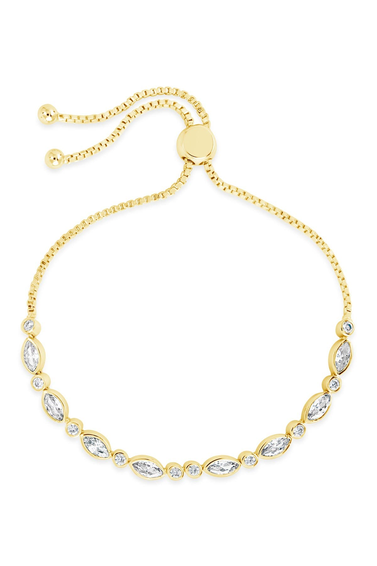 Sterling Forever 14K Yellow Gold Plated Marquis Cubic Zirconia Slider Bolo Bracelet