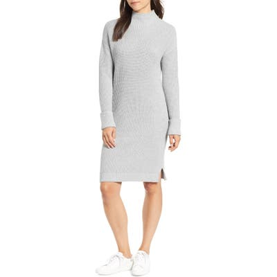 Caslon Ribbed Sweater Dress, Grey
