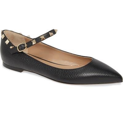 Valentino Garavani Rockstud Mary Jane Pointed Toe Flat - Black