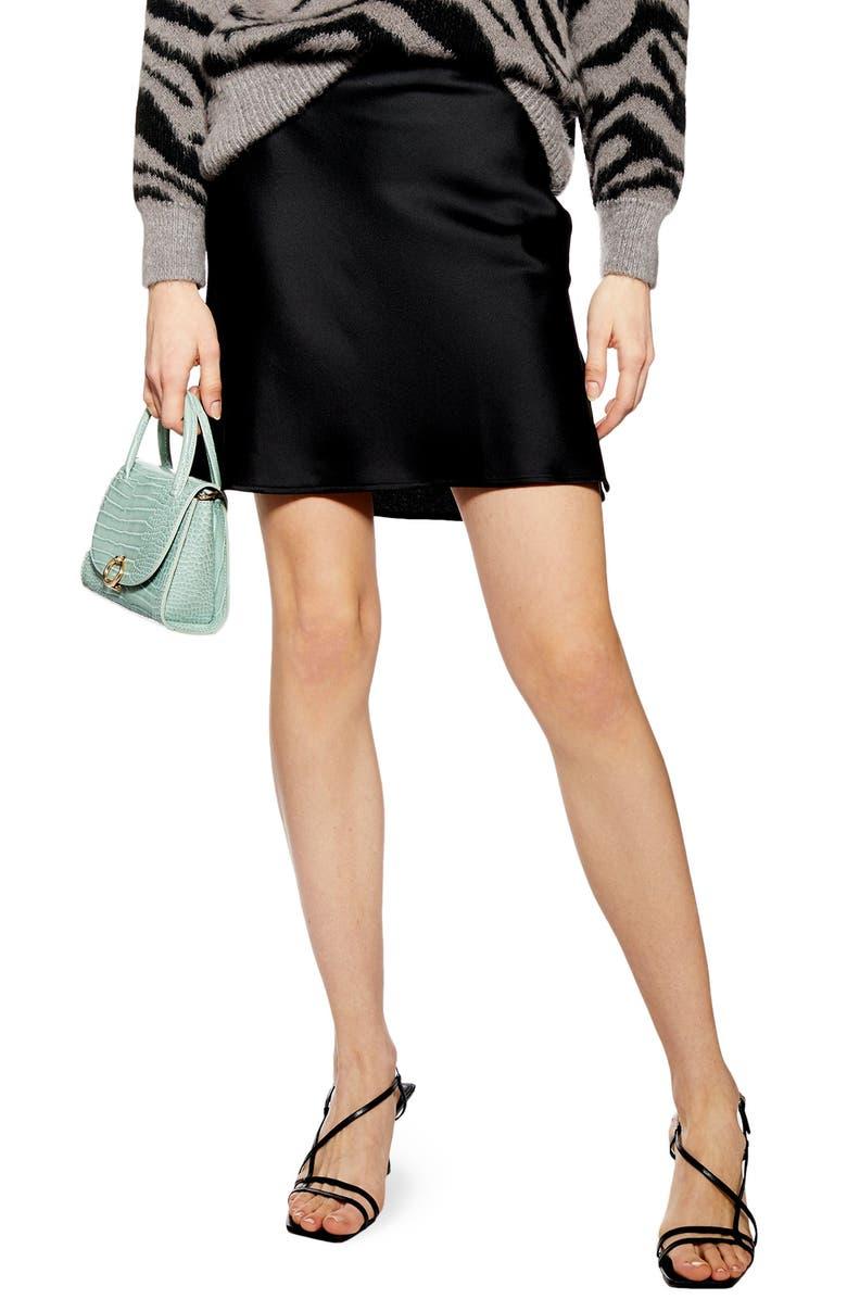Satin Bias Cut Miniskirt by Topshop