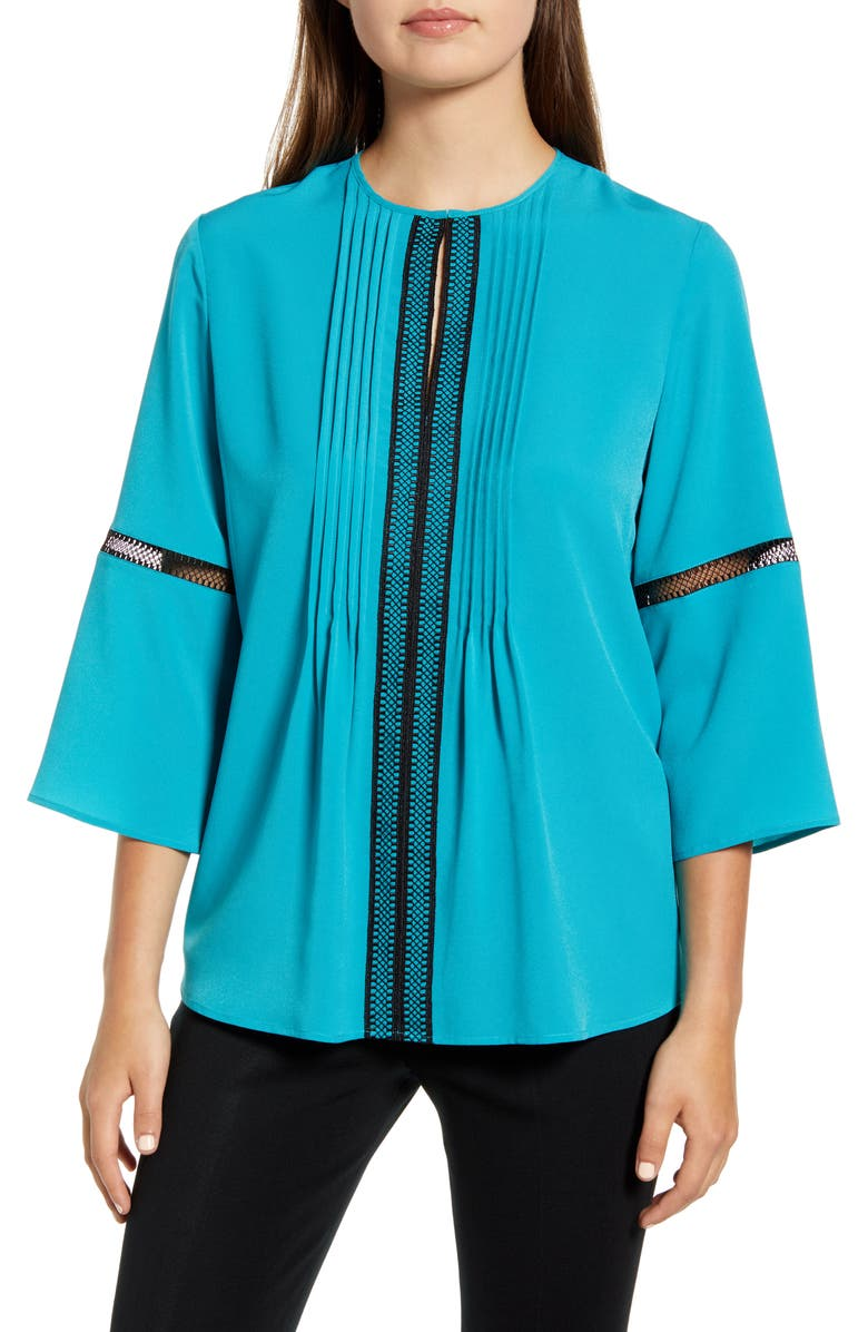 MING WANG Embroidery Detail Bell Sleeve Blouse, Main, color, 400