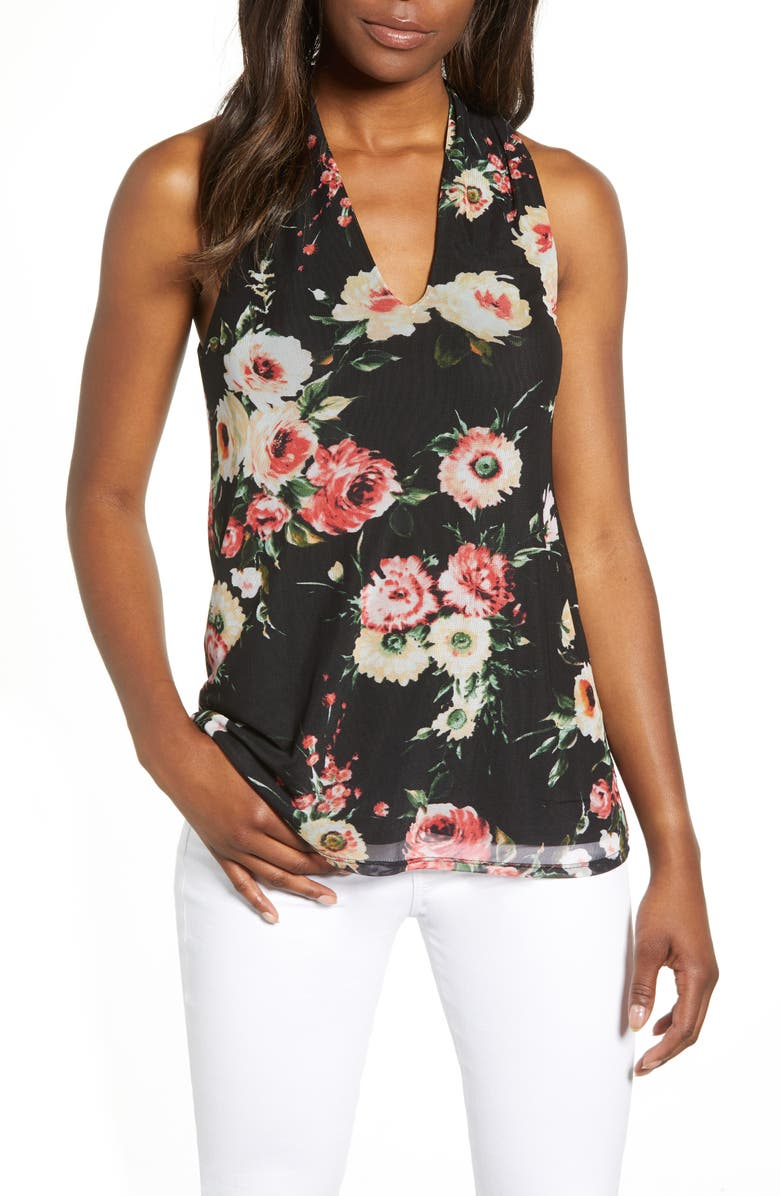 LOVEAPPELLA Floral Mesh Tank, Main, color, 002