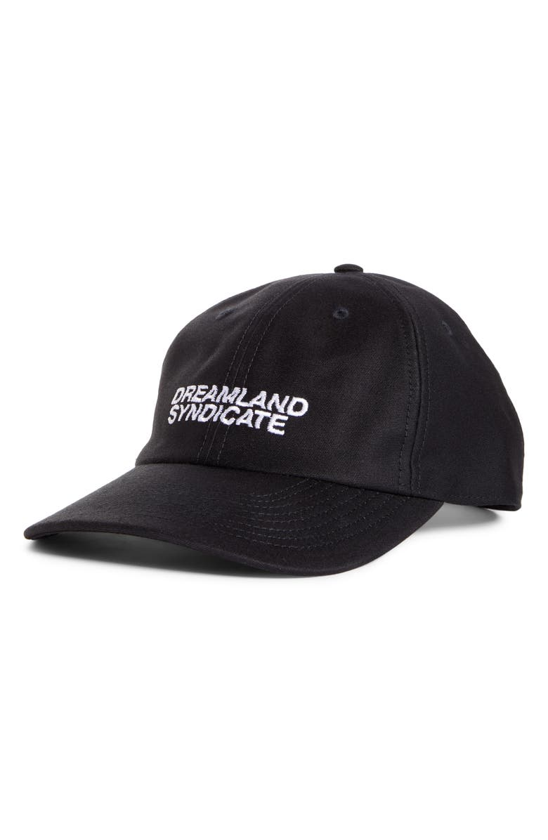 DREAMLAND SYNDICATE Logo Embroidered Baseball Cap, Main, color, BLACK W/ WHITE EMBRODERY