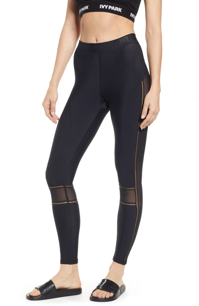 IVY PARK<SUP>®</SUP> Mesh Panel Leggings, Main, color, 001