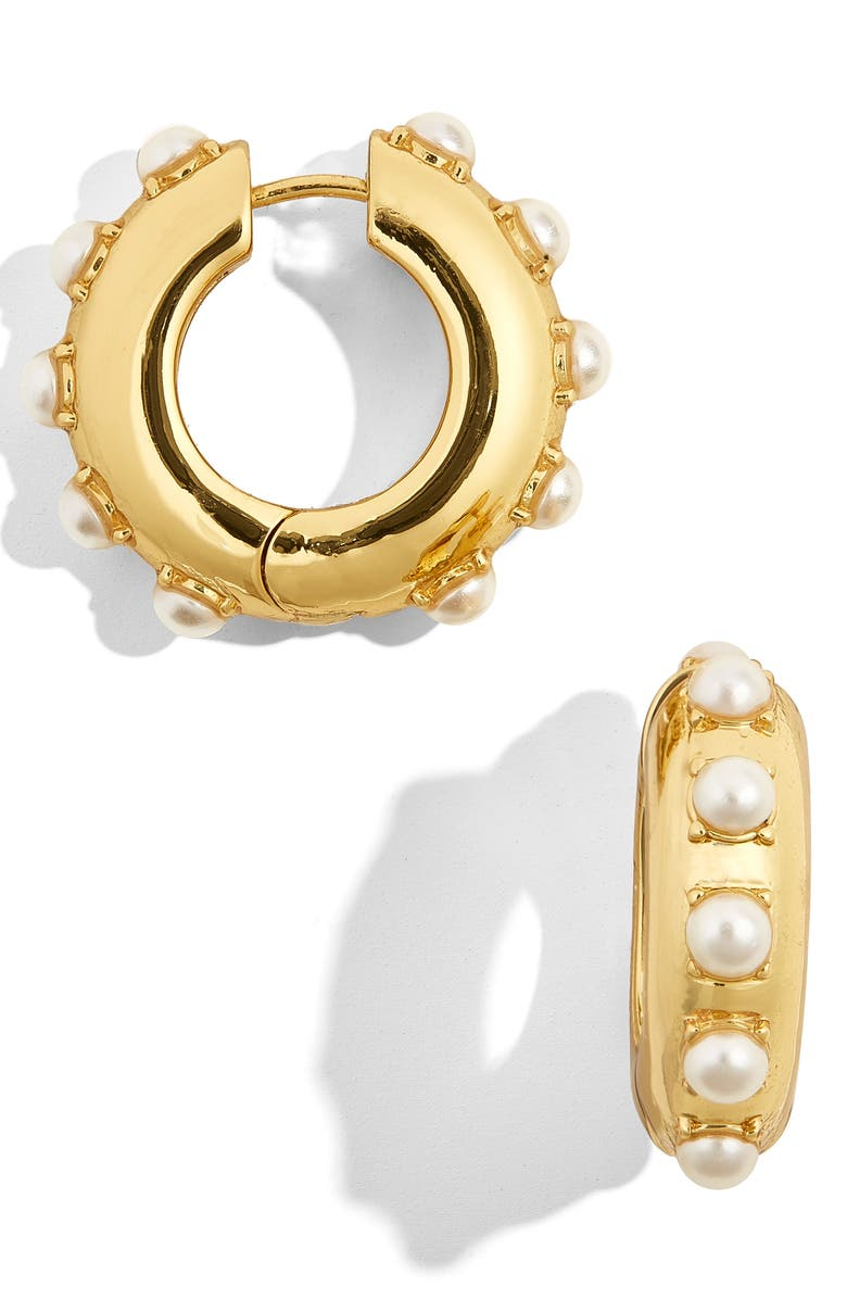 BAUBLEBAR Claire Imitation Pearl Huggie Earrings, Main, color, GOLD
