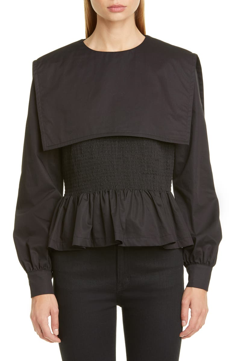 MOLLY GODDARD Lucy Smocked Peplum Blouse, Main, color, BLACK